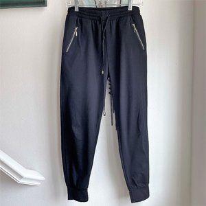 Indero Black Joggers w/ Gold Tone Zippered Pockets
